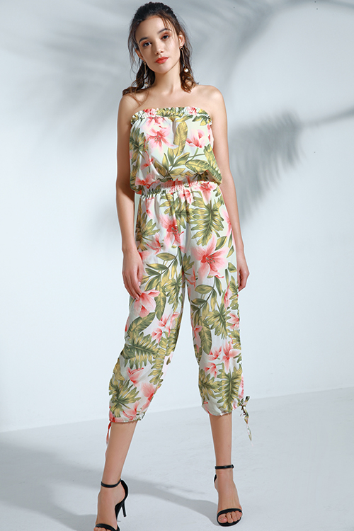 Lovely Trendy Floral Printed White One-piece Jumpsuit