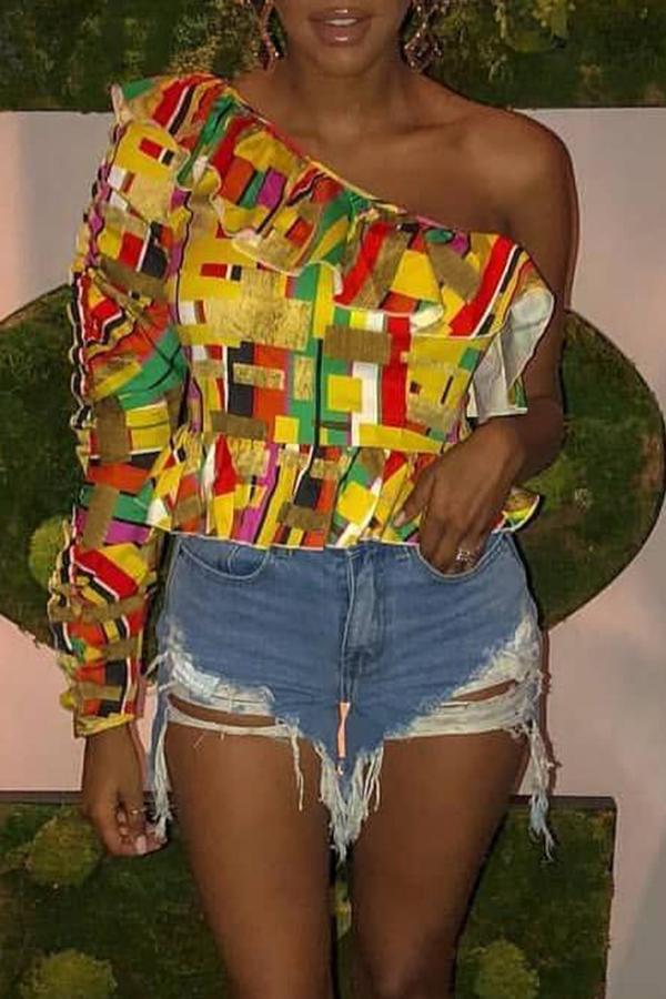 Preciosa Camiseta Estampada Multicolor De Satén A La Moda.