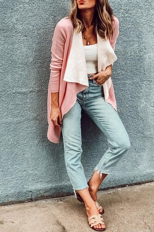 Lovely Casual Long Sleeves Light Pink Sweater Cardigans