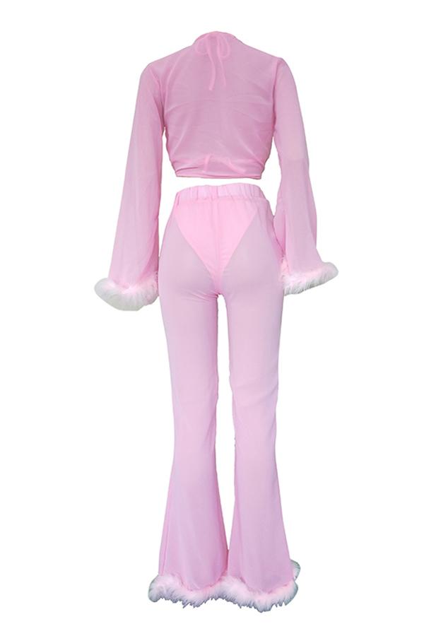 Precioso Conjunto De Pantalones De Dos Piezas De Patchwork Rosa Sexy (con Ropa Interior)