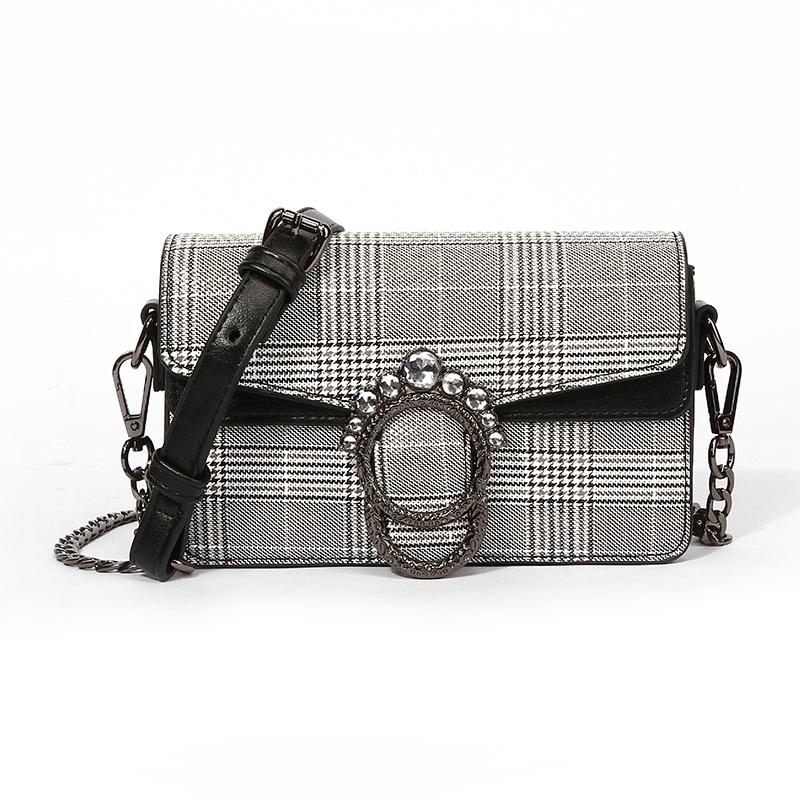 Lovely Trendy Grids Printed Black And White Crossbody Bag