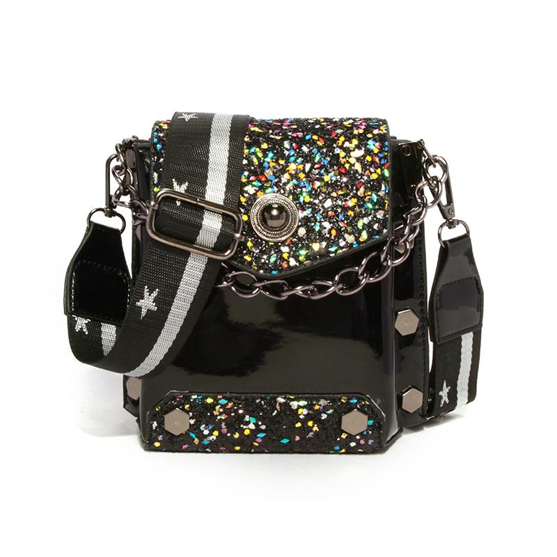 Lovely Chic Patchwork Black  Crossbody Bag
