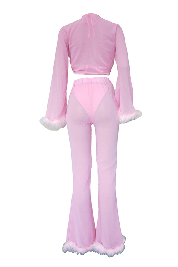 Lovely Sexy Patchwork Pink Two-piece Pants Set(With Underclothes)
