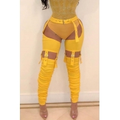Lovely Trendy  Hollowed-out Yellow Blending Pants