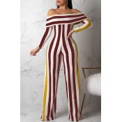 Lovely Casual Striped Wine Red One-piece Jumpsuit