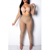 Lovely Sexy Apricot One-piece Jumpsuit(It Can Be W