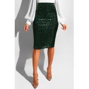 Faldas Largas Hasta La Rodilla Con Lentejuelas De Color Verde Oscuro Muy Ceñidas Y Bonitas