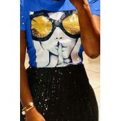 Lovely Chic Sequined Decorative Royal Blue Blending T-shirt