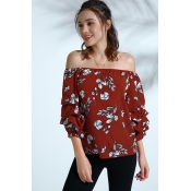 Lovely Bohemian Floral Printed Red Cotton Blends S