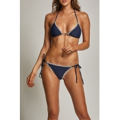 Lovely Chic Lace-up Navy Blue Spandex Two-piece Sw