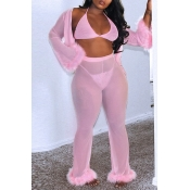Lovely Sexy Patchwork Pink Two-piece Pants Set(Wit