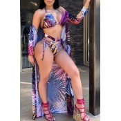 Lovely Sexy Printed Purple Bikinis(With Cover-up)