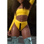 Lovely Trendy Patchwork Yellow Two-piece Swimsuit