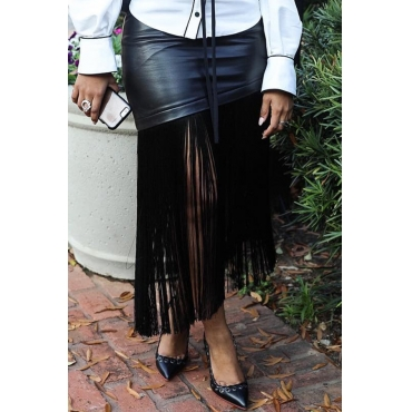 Lovely Trendy Tassel Design Black PU Ankle Length Skirts