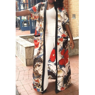 Lovely Casual Floral Printed Multicolor Coat