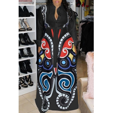 Lovely Casual Printed Loose Black Blending Floor Length Dress