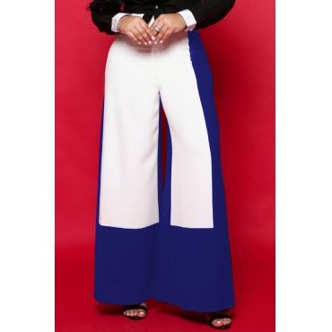 Lovely Elegant  Patchwork Loose Blue Pants