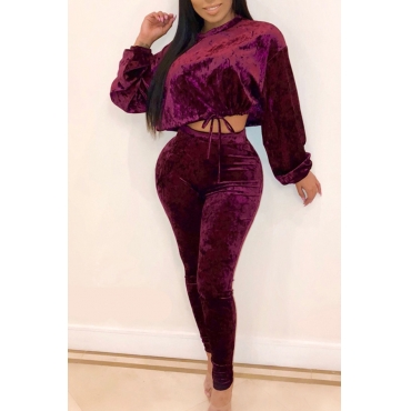 Lovely Trendy Lace-up Wine Red Two-piece Pants Set