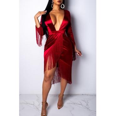 Lovely Sexy Tassel Design Red Knee Length Dress