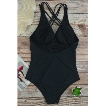 Schöne Sexy Rückenfreie Schwarze Einteilige Swimwears