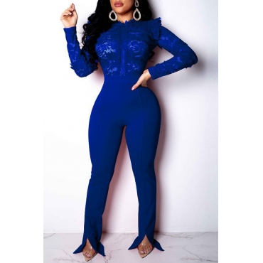 Lovely Trendy Patchwork Blue Twilled Satin One-piece Jumpsuit