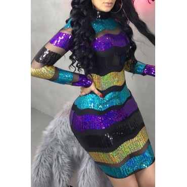 Lovely Trendy Striped Non Positioning Sequined Multicolor Sequined Mini Dress(Without Lining)