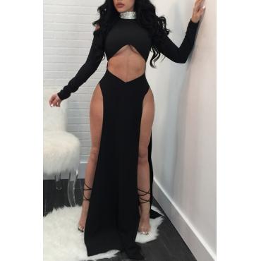 Lovely Sexy High Slit Black Blending Floor Length Dress