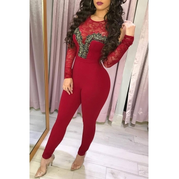 Lovely Casual Patchwork Wine Red One-piece Jumpsuit
