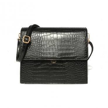 Lovely Vintage Croco Printed Black Crossbody Bag