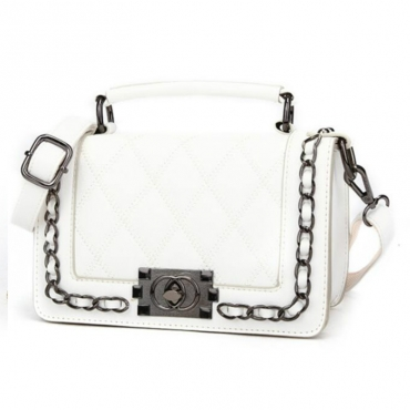 Lovely Elegant Metal Chain Strap White Crossbody Bag