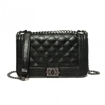 Lovely Elegant Metal Chain Strap Black Crossbody Bag