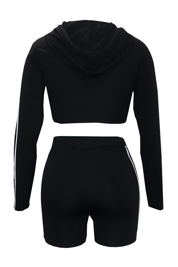 Lovely Sportswear Hooded Collar Black Blending Two-piece Shorts Set