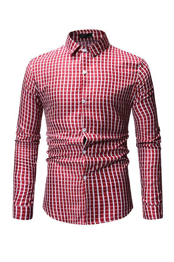 Lovely Trendy Grids Printed Red Cotton Shirts