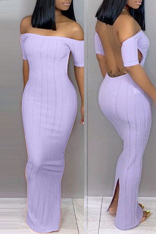 Lovely Trendy Backless Purple Ankle Length Dress