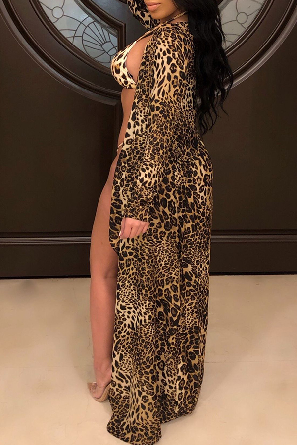 Lovely Sexy Spaghetti Strap Leopard Two-piece Swimwear(With Cover-up)
