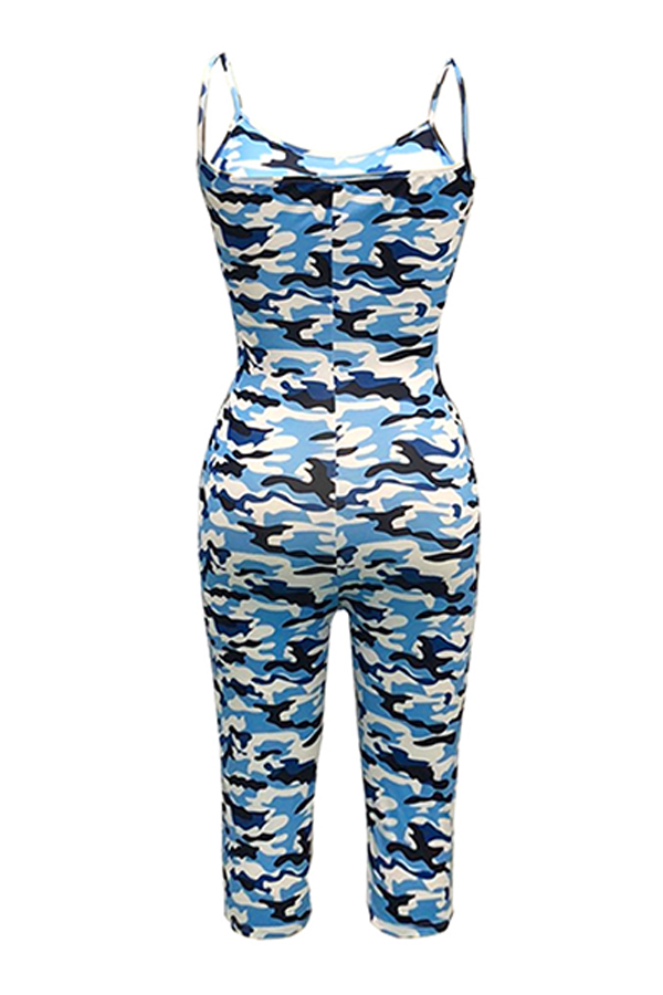 Lovely Sexy Camouflage Printed Blue One-piece Rompers