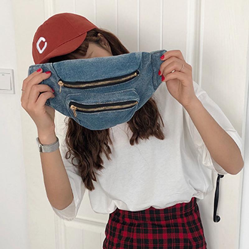 Lovely Casual Zipper Design Deep Blue Canvas Crossbody Bag