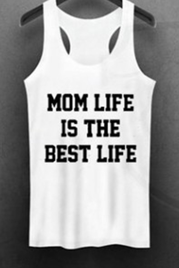 Lovely Casual Letters Printed White Tank Top
