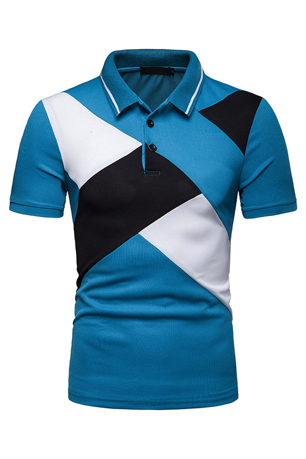 Lovely Trendy Patchwork Blue Cotton Polo Shirt