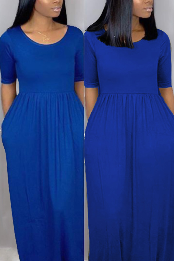 Lovely Casual Loose Dark Blue Blending Floor Length Dress