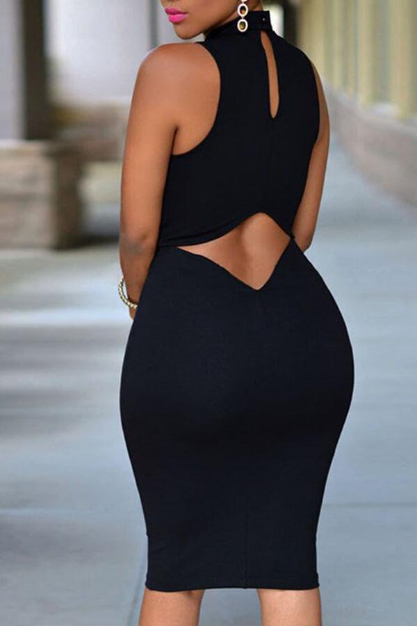 Lovely Work Tank Sleeveless Black Knee Length Dress