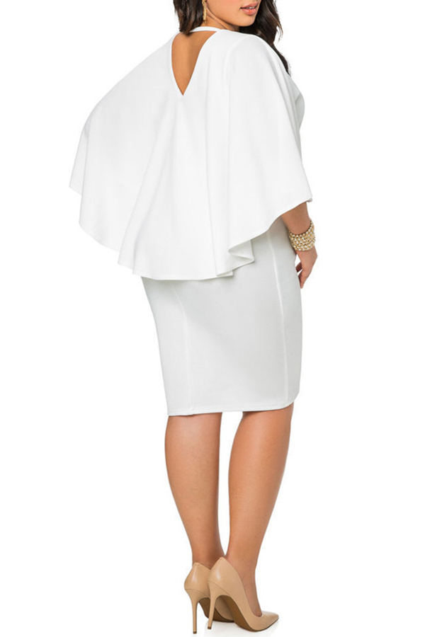 Lovely Work Cloak Design White  Knee Length Dress