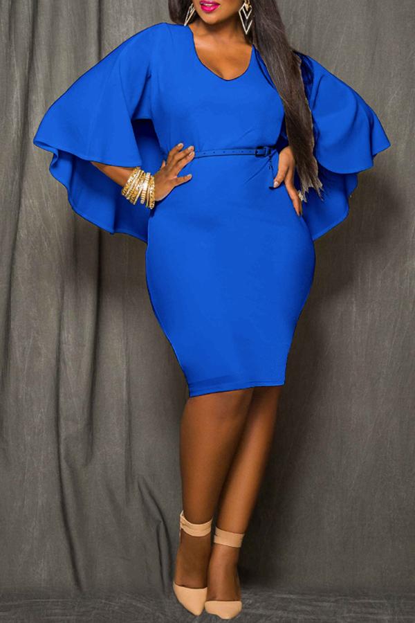 Lovely Work Cloak Design Blue  Knee Length Dress