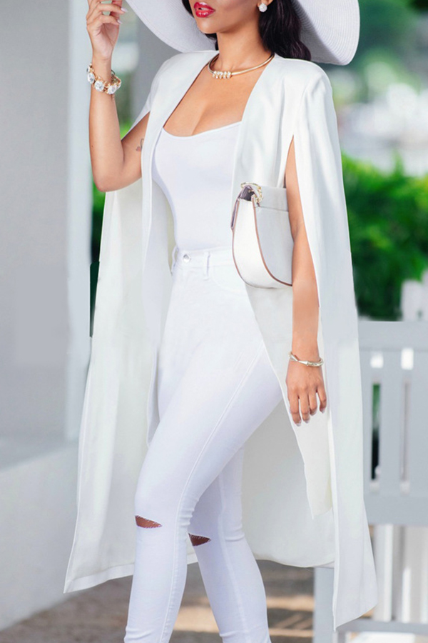 Coat&Jacket Lovely Casual Sleeveless Cloak Design White Coat фото