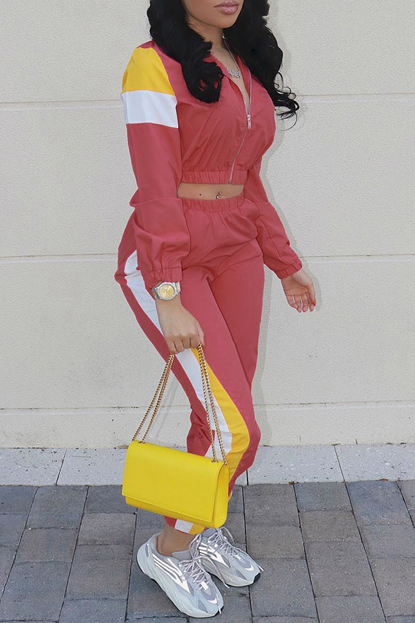 Lovely Casual Patchwork Red Cotton Blends Two-piece Pants Set