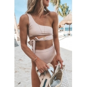 Lovely Sexy Lace-up Dusty Pink Bikinis