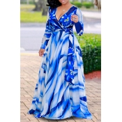 Lovely Casual Printed Blue Floor length Dress