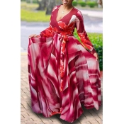 Lovely Casual Printed Red Floor length Dress