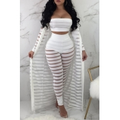 Lovely Casual Striped White Two-piece Pants Set(Wi