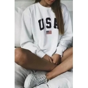 Lovely Casual Letters Printed White Cotton Sweatsh